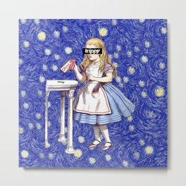 Trippy Alice - Blue Metal Print