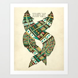 Soulmate Feathers Art Print