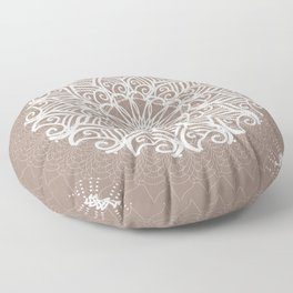 Designs by Shelley - Tan and White spirit mandala Floor Pillow