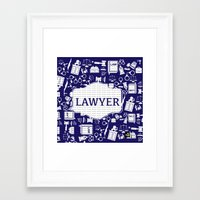lawyer Framed Art Prints featuring Blue Lawyer by Be Raza