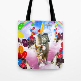 Cat Riding Llama With Sundae And Jelly Beans Tote Bag