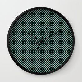 Black and Lucite Green Polka Dots Wall Clock