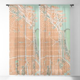 Buenos Aires city map orange Sheer Curtain