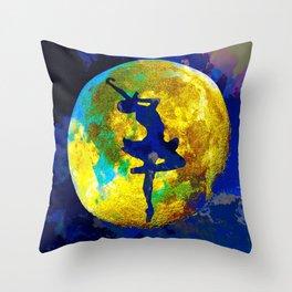 BALLET DANCER AND THE MOON Throw Pillow