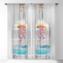 Electric Jellyfish Worlds in  a Bottle Sheer Curtain
