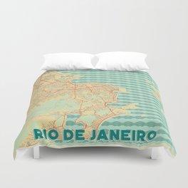 Rio de Janerio Map Retro Duvet Cover
