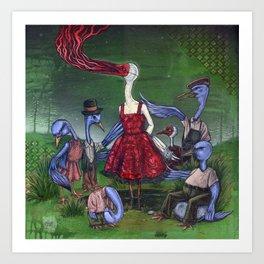 A Wedge Of Cranes Art Print