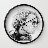 ashton irwin Wall Clocks featuring Ashton by Drawpassionn