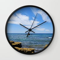 portugal Wall Clocks featuring Galé, Portugal by Sam Brown