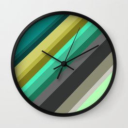 green brown yellow grey stripes Wall Clock