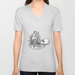 Kraken Attacking Ship Tattoo Grayscale Unisex V-Neck
