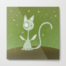 Winged polka-dotted blue cat and spring Metal Print