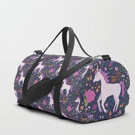 Be Magical Unicorn Pattern in a Garden Duffle Bag