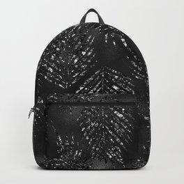 black glittery exotic leaves Backpack