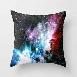 Carina Nebula : Vivid Blue Fuchsia and Red Throw Pillow