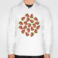 strawberry Hoodies featuring Strawberry by Julia Badeeva