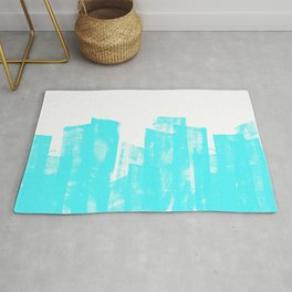 Rolled Ink Texture in Bright Cyan Blue and White Rug