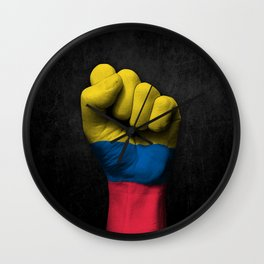 Colombian Flag on a Raised Clenched Fist Wall Clock