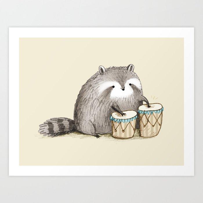 Raccoon on Bongos Kunstdrucke