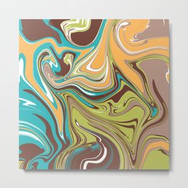 Marbling - khacki orange Metal Print