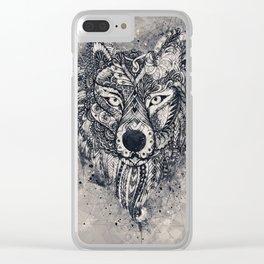 Geometric Wolf Mandala Clear iPhone Case