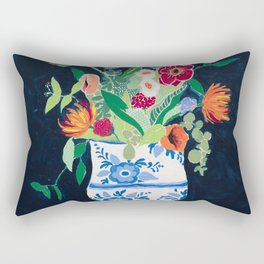 Bouquet of Flowers in Blue and White Urn on Navy Rectangular Pillow