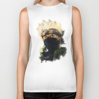 kakashi Biker Tanks featuring Grunge Copy Ninja by jpmdesign