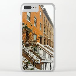 Brooklyn Wintertime is coming Brownstone Clear iPhone Case