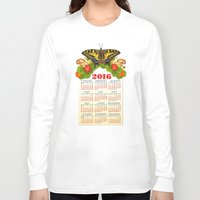 calendar Long Sleeve T-shirts featuring 2016 Decorative Calendar by Patricia Shea Designs