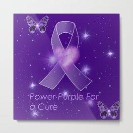 Power Purple For a Cure - Sparkle Butterflies Metal Print