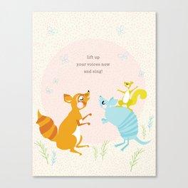 Raccoon & Armadillo Singing Canvas Print