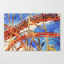 Fun on the roller coaster, close up Canvas Print