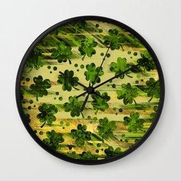 Irish Shamrock -Clover Abstract Gold and Green pattern Wall Clock