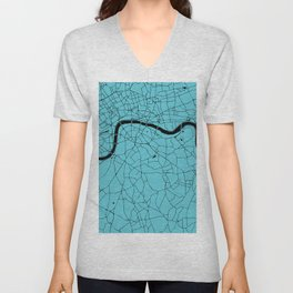 London Turquoise on Black Street Map Unisex V-Neck