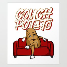 Funny Couch Potato Lazy Vegetable Television Sofa Art Print