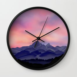 sunset and mountains Wall Clock