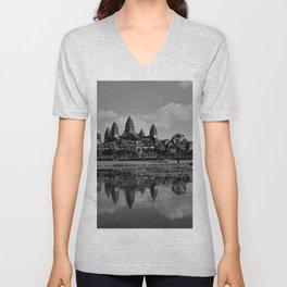 Angkor Wat temple - Cambodia Black and White Photographic Print Unisex V-Neck