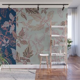 Tomatoes leaves in coral and blue Pantone palette Wall Mural