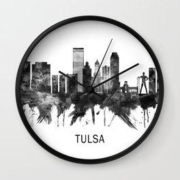 Tulsa Oklahoma Skyline BW Wall Clock