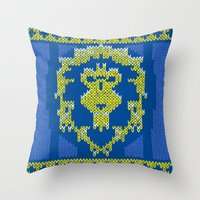 warcraft Throw Pillows featuring Ugly Sweater 1 by SlothgirlArt