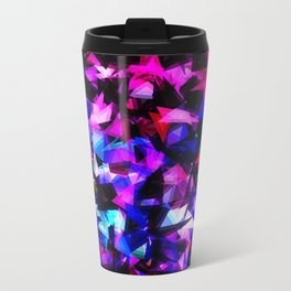 psychedelic geometric triangle polygon abstract pattern in pink blue black Travel Mug