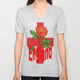 St George Flag With English Rose For England Fans Unisex V-Neck