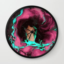 Purple cyan on black Marble texture Liquid paint art Wall Clock