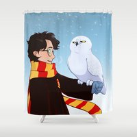 hedwig Shower Curtains featuring Harry and Hedwig by AnimonInk