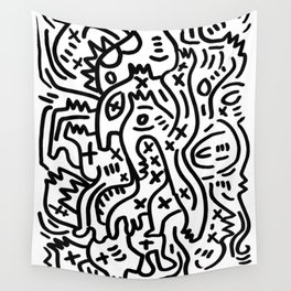 Graffiti Street Art Black and White Wall Tapestry