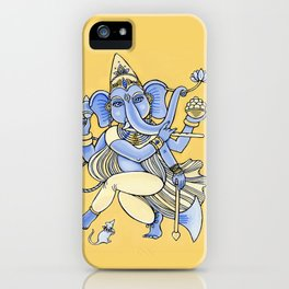 Dancing Ganesha hand drawn illustration. Dancing elephant. Hindu God. Indian God. Travel in India il iPhone Case
