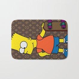 Bart Simpson skateboarding x louisvuitton brown Bath Mat