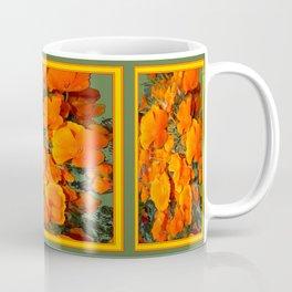 Sage Green Art Golden California Poppies Design Coffee Mug