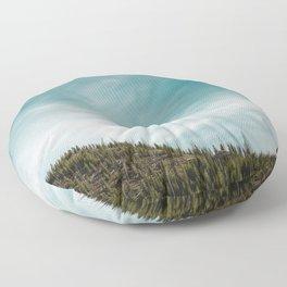 Teal Sky Forest Mountain Floor Pillow