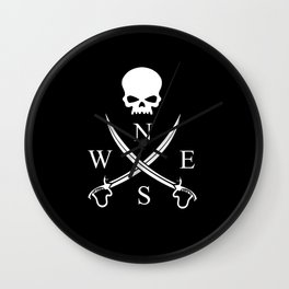Pirate compass and skull design Wall Clock